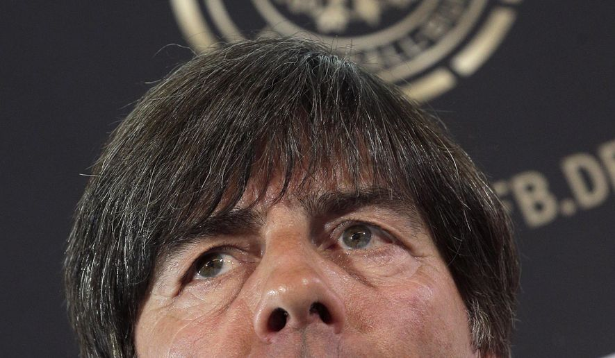 Joachim Loew, coach of the German national soccer team, speaks during a press conference in Berlin, Germany, Tuesday, May 17, 2016 as part of the announcement of the current German squad for the  Euro 2016 in France. (AP Photo/Michael Sohn)