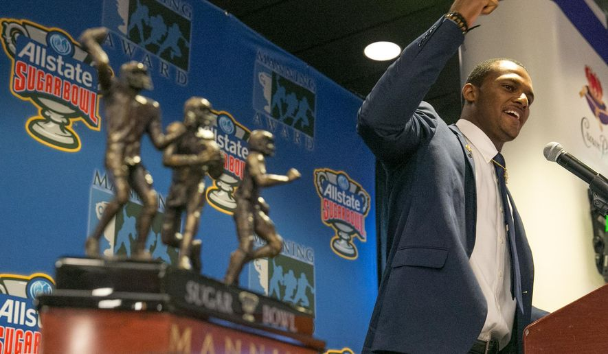 Clemson quarterback Deshaun Watson is presented with the Manning Award during the 12th Annual Manning Award Ceremony, Tuesday, May 17, 2016 held at the Louisiana Superdome in New Orleans. (Ted Jackson/NOLA.com The Times-Picayune via AP) MAGS OUT; NO SALES; USA TODAY OUT; THE BATON ROUGE ADVOCATE OUT; THE NEW ORLEANS ADVOCATE OUT; MANDATORY CREDIT
