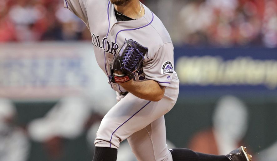Colorado Rockies starting pitcher Chad Bettis (35) delivers a pitch in the first inning of a baseball game against the St. Louis Cardinals, Tuesday, May 17, 2016, in St. Louis. (AP Photo/Tom Gannam)