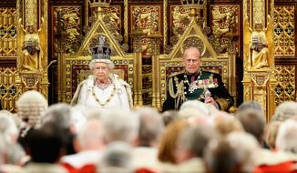 Britain's Queen Elizabeth II and Prince Philip, sit in the House of Lords ahead of the Queen's Speech at the State Opening of Parliament in London on Wednesday May 18, 2016.  The State Opening of Parliament marks the formal start of the parliamentary year and the Queen's Speech sets out the government's agenda for the coming session. (Chris Jackson/Pool via AP)