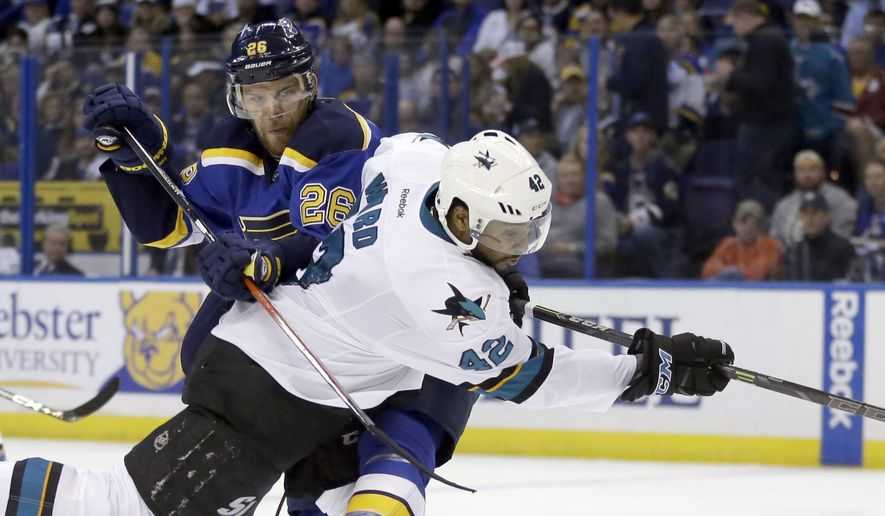 San Jose Sharks right wing Joel Ward (42) and St. Louis Blues center Paul Stastny (26) battle for the puck and  during the third period in Game 2 of the NHL hockey Stanley Cup Western Conference finals, Tuesday, May 17, 2016, in St. Louis. (AP Photo/Jeff Roberson)