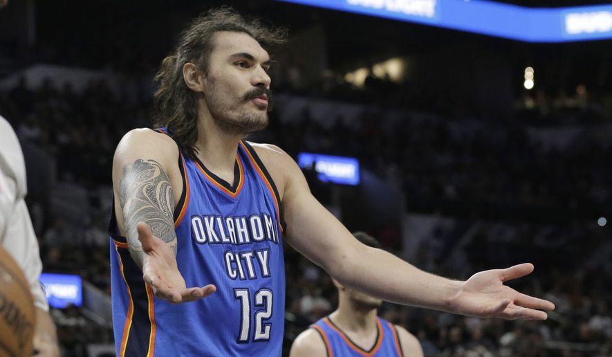 Oklahoma City Thunder center Steven Adams (12) argues a call during the second half of an NBA basketball game against the San Antonio Spurs, Tuesday, April 12, 2016, in San Antonio. San Antonio won 102-98 in overtime. (AP Photo/Eric Gay)