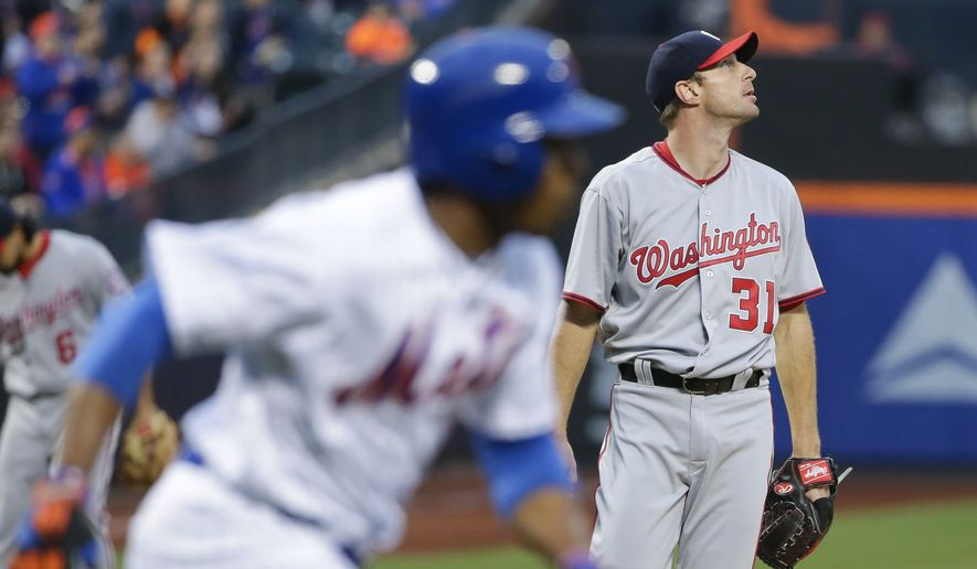 Washington Nationals starting pitcher Max Scherzer (31) watches a ball hit by New York Mets' Curtis Granderson for a home run as third baseman Anthony Rendon (6) reacts during the first inning of a baseball game Tuesday, May 17, 2016, in New York. (AP Photo/Frank Franklin II)