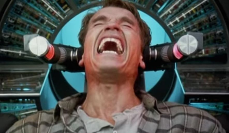 "Arnold Schwarzenegger stars in the 1990 movie ""Total Recall"" as a man who has false memories planted into his mind. (Columbia/TriStar Pictures, ""Total Recall"" trailer)"