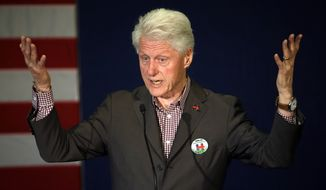 Former President Bill Clint speaks in Portland, Ore., Thursday, May 5, 2016, while campaigning for his wife, Democratic presidential candidate Hillary Clinton. (AP Photo/Don Ryan)