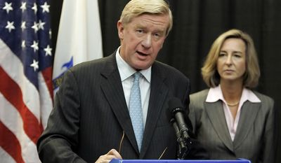 FILE - This Nov. 2, 2006, file photo, former Massachusetts Republican Gov. William Weld endorses the candidacy of Lt. Gov. Kerry Healey, right, in her bid for the corner office against Democratic gubernatorial candidate Deval Patrick in Boston, Mass. Seizing new fuel for his appeal to Donald Trump's critics, former New Mexico Gov. Gary Johnson has joined forces with another former Republican governor to strengthen his Libertarian presidential bid. Weld, who served two terms as the Republican governor of Massachusetts in the 1990s, will announce plans Thursday to seek the Libertarian Party's vice presidential nomination, Johnson confirmed in a Wednesday interview with the Associated Press. (AP Photo/Stephan Savoia, File) **FILE**