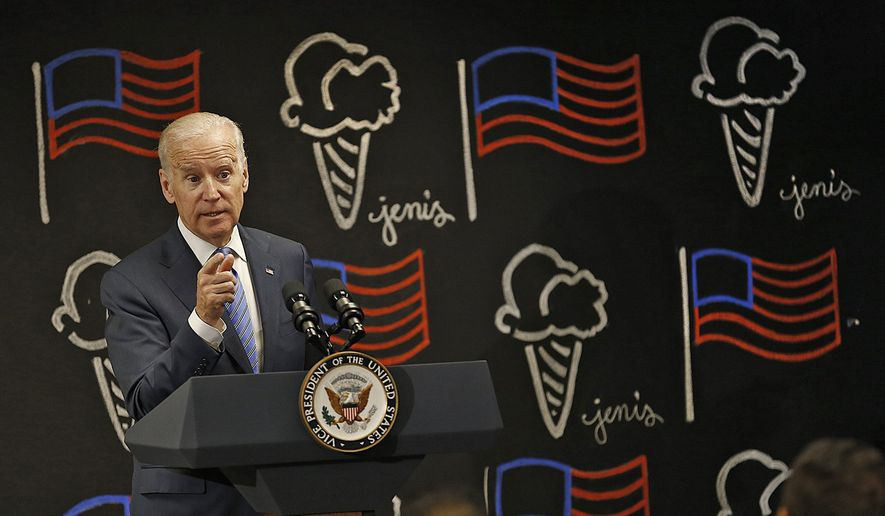 Vice President Joe Biden explains to a group of supporters new overtime rules, Wednesday, May 17, 2016 in Columbus, Ohio. (Chris Russell/The Columbus Dispatch via AP) MANDATORY CREDIT