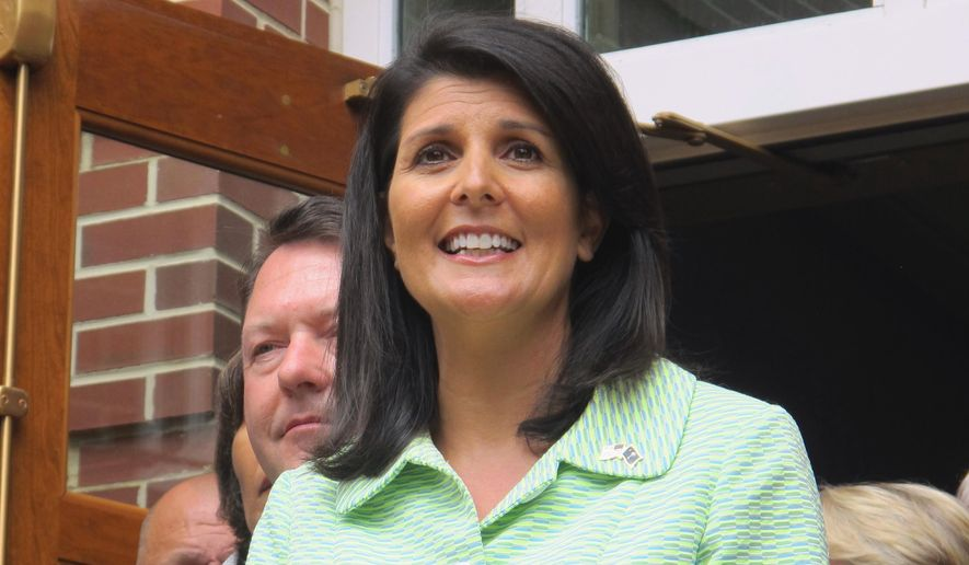 In this Monday, May 2, 2016, file photo, South Carolina Gov. Nikki Haley speaks with reporters outside the Jasper County office building in Ridgeland, S.C. (AP Photo/Bruce Smith, File)