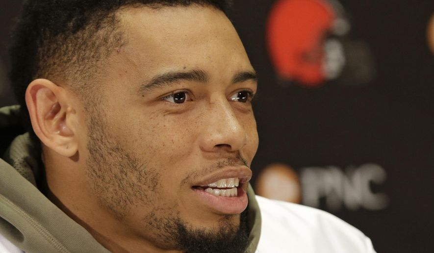 Cleveland Browns defensive back Joe Haden talks about his recovery at the NFL football team's training camp facility, Wednesday, May 18, 2016, in Berea, Ohio. Haden is recovering from an ankle injury. (AP Photo/Tony Dejak)