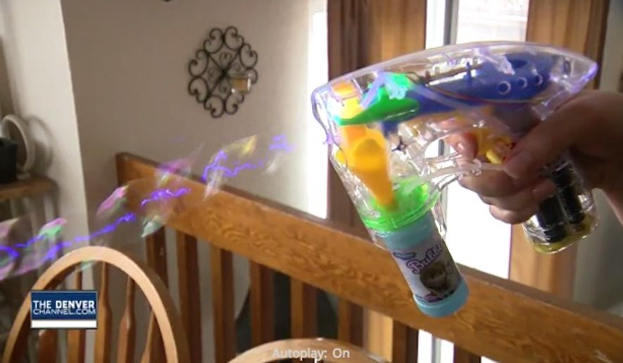 "A 5-year-old Colorado girl was suspended this week for bringing a clear plastic bubble ""gun"" to school. (Denver 7 News)"