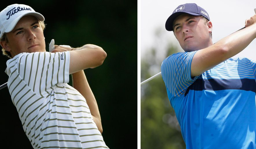FILE - At left, in a May 20, 2010, file photo, Jordan Spieth, 16, a junior at Jesuit College Preparatory School in Dallas, watches his shot off the 12th tee during the first round of the Byron Nelson golf tournament in Irving, Texas. At right, in a May 28, 2015, file photo, Jordan Spieth watches his tee shot on the third hole during the first round of the Byron Nelson golf tournament, in Irving, Texas. Spieth is back home, at the tournament he and his father have hopped a fence to watch and at the TPC course where as a 16-year-old he played his first PGA Tour event.  (AP Photo/File)