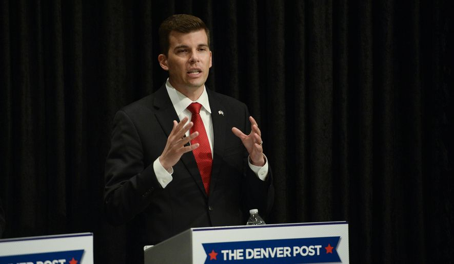 Jon Keyser answers a question about the fraudulent signatures during a Republican Senate debate in Denver, on Tuesday, May 17, 2016. The five contenders for the Colorado Republican nomination for the U.S. Senate race take part in The Denver Post debate on Tuesday at The Denver Post auditorium. (John Leyba/The Denver Post via AP) MAGS OUT; TV OUT; INTERNET OUT; NO SALES; NEW YORK POST OUT; NEW YORK DAILY NEWS OUT; MANDATORY CREDIT