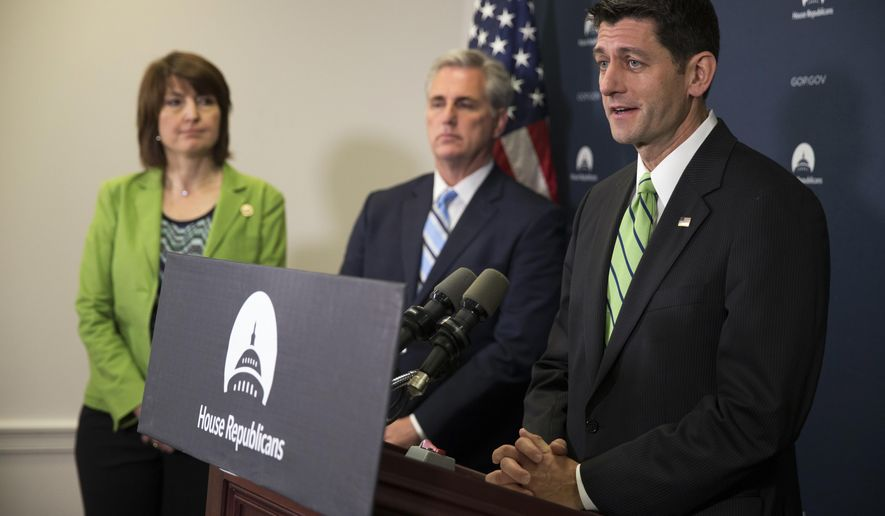 House Speaker Paul Ryan of Wis. speaks during a news conference on Capitol Hill in Washington, Tuesday, May 17, 2016, following a House Republican caucus meeting. From left re, Rep. Cathy McMorris Rodgers, House Majority Leader Kevin McCarthy of Calif., and Ryan. (AP Photo/Evan Vucci)