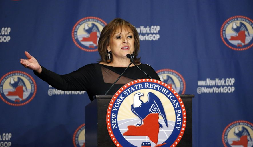 FILE - In this April 14, 2016 file photo, New Mexico Governor Susana Martinez speaks during the New York Republican State Committee Annual Gala in New York. (AP Photo/Kathy Willens, File)