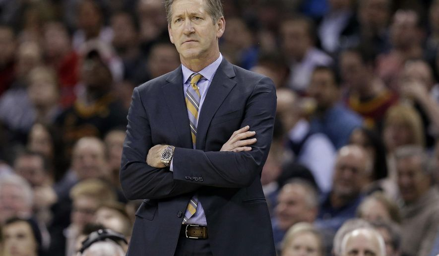 FILE - In this Jan. 27, 2016, file photo, Phoenix Suns coach Jeff Hornacek watches the team's NBA basketball game against the Cleveland Cavaliers in Cleveland. A person with knowledge of the details says the New York Knicks are working on a deal to hire Hornacek as their coach. Knicks President of Basketball Operations Phil Jackson has had discussions with the former Suns coach and there is mutual interest, but they have not begun negotiations on a contract, the person tells The Associated Press on condition of anonymity because details of the coaching search are private. (AP Photo/Tony Dejak, File)