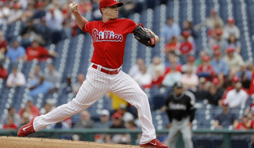 Philadelphia Phillies' Jeremy Hellickson pitches during the first inning of a baseball game against the Miami Marlins, Wednesday, May 18, 2016, in Philadelphia. (AP Photo/Matt Slocum)
