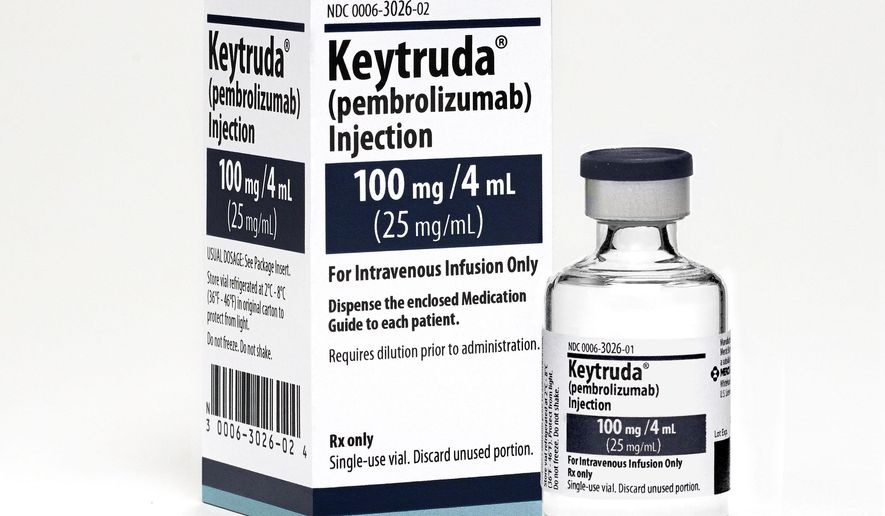 This 2015 photo made available by Merck shows the drug Keytruda. A study released Wednesday, May 18, 2016 shows the new kind of drug for the deadliest form of skin cancer helped some patients survive for at least three years. (Michael Lund/Merck via AP)