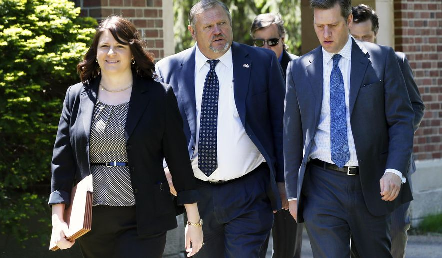 Senate Majority Leader Tom Bakk, a Democrat, center, walks with Republicans, House Majority Leader Joyce Peppin and House Speaker Kurt Daudt as they arrive at the governor's residence Wednesday, May 18, 2016 in St. Paul, Minn. to continue negotiating a transportation bill as the legislative session draws to a close. (AP Photo/Jim Mone)