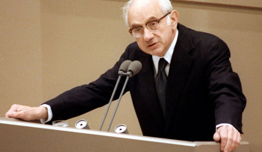 FILE - In this June 17, 1987 file photo, American historian Fritz Richard Stern appears during his speech in Bonn, Germany. Stern, a refugee from Nazi Germany who became a prominent historian and a longtime professor at Columbia University, died Wednesday, May 18, 2016 at his home in New York. He was 90. (AP Photo/Hermann J. Knippertz, File)