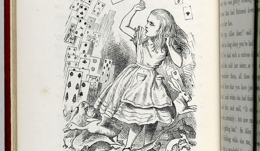 """This undated photo provided by Christie's shows a page from a first print-run of Lewis Carroll's """"Alice's Adventure in Wonderland,"""" that is heading to auction where it could fetch as much as $3 million. The book, containing 42 original drawings by the famed illustrator John Tenniel, is one of only six 1865 copies in private hands. Christie's New York is offering it on June 16. (Christie's via AP)"""