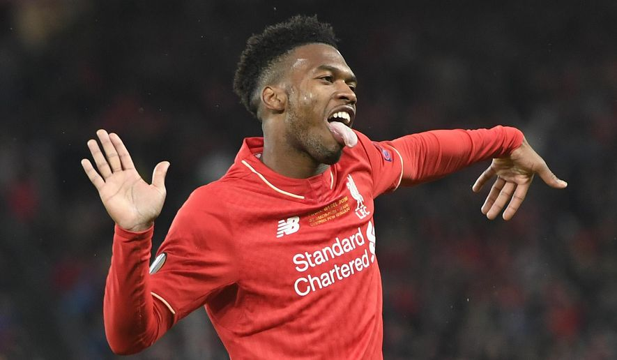 Liverpool's Daniel Sturridge celebrates after scoring the first goal of the game, during the Europa League final between England's Liverpool FC and Spain's Sevilla Futbol Club at the St. Jakob-Park stadium in Basel, Switzerland, Wednesday, May 18, 2016. (Jean-Christophe Bott/Keystone via AP)
