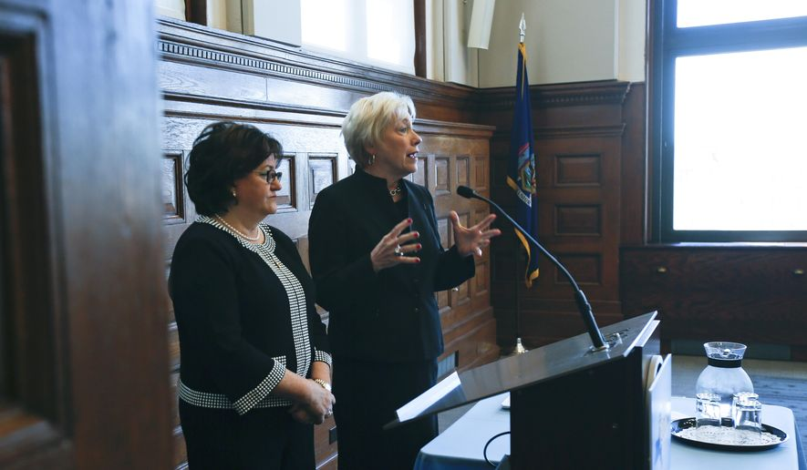 State University of New York Chancellor Nancy Zimpher, right, and State Education Commissioner MaryEllen Elia take questions during a TeachNY news conference on Wednesday, May 18, 2016, in Albany, N.Y. A collaboration of the State Education Department and SUNY aims to improve teacher training and address teacher shortages across New York. (AP Photo/Mike Groll)