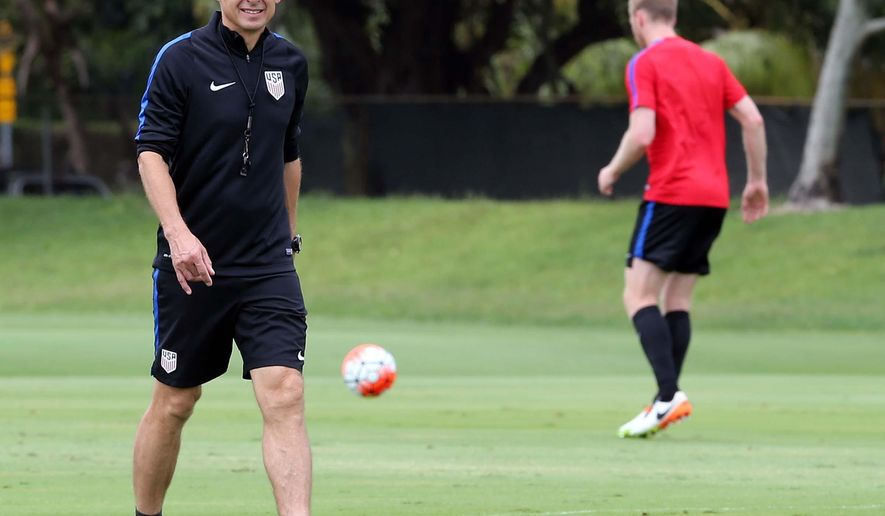 United States' Jurgen Klinsmann, conducts a practice during a training session at Barry University, Tuesday, May 17, 2016 in Miami. The U.S. men's national soccer team are preparing for a exhibition match against Puerto Rico. (Pedro Portal/El Nuevo Herald via AP)  MAGS OUT; MANDATORY CREDIT