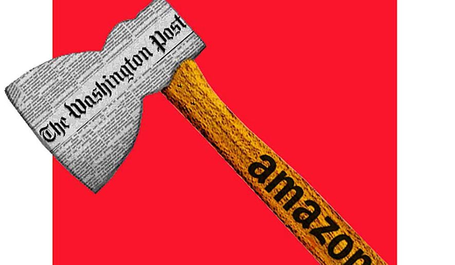 Illustration on The Washington Post as a political tool of Amazon.com owner Jeff Bezos by Alexander Hunter/The Washington Times
