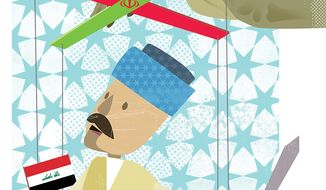 Illustration on Iran's history of orchestrating Iraqi affairs by Linas Garsys/The Washington Times