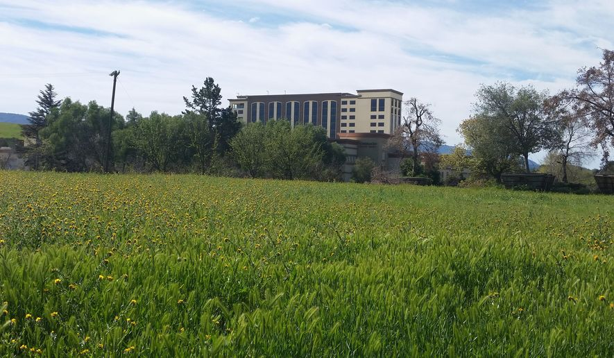 Despite strong community opposition, the Chumash Indian tribe built the 12-story Chumash Casino Resort hotel tower in Santa Ynez, California. (Valerie Richardson/The Washington Times)