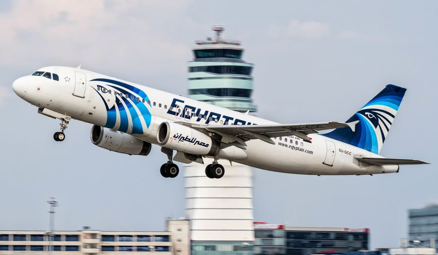 This Aug. 21, 2015, photo shows an EgyptAir Airbus A320 taking off from Vienna International Airport in Austria. (Associated Press)