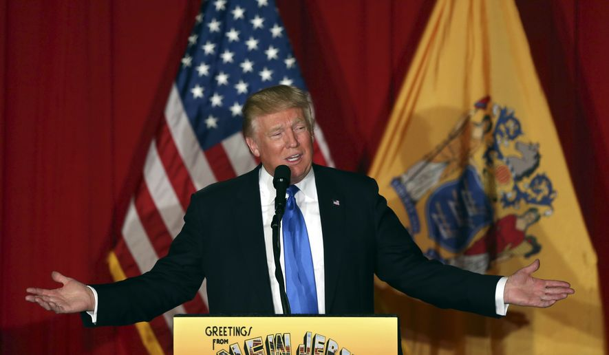 Republican presidential candidate Donald Trump speaks at a campaign event Thursday, May 19, 2016 in Lawrenceville, N.J. (AP Photo/Mel Evans)