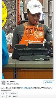 afe58bb8647 America Was Never Great   Home Depot employee s hat sparks outrage