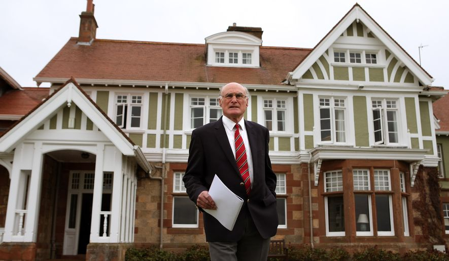 Captain of Muirfield Golf Club, Henry Fairweather in front of Muirfield golf club clubhouse, as he makes an announcement on the outcome of a membership ballot, against admitting women as club members, Thursday May 19, 2016.  The Royal and Ancient, which organizes the British Open golf tournament has reacted Thursday by saying Muirfield will no longer be allowed to stage the major championship. (Andrew Milligan / PA via AP) UNITED KINGDOM OUT - NO SALES - NO ARCHIVES