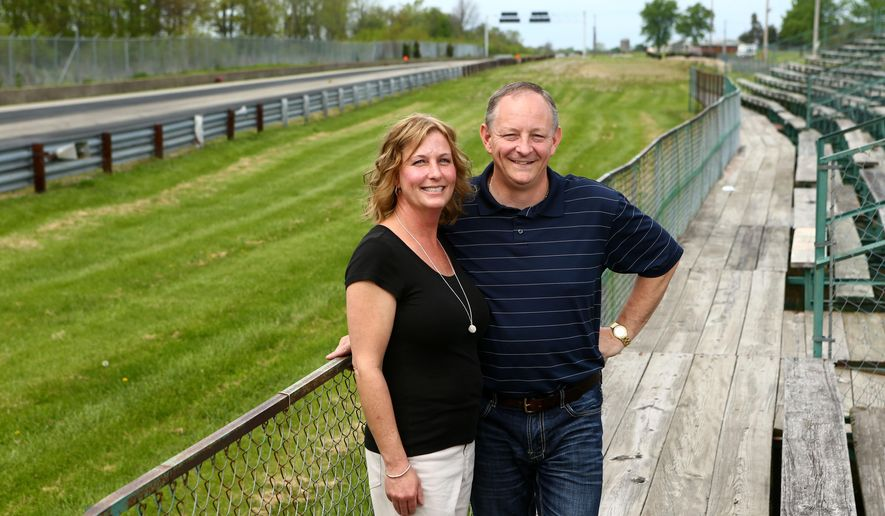 Stacey and Adam Confer, seen in a May 11, 2016 photo, are the new owners of the Bunker Hill Dragstrip in Bunker Hill, Ind. The dragstrip had been for sale for about a year until the Confers purchased it several weeks ago. The couple moved back to the area and purchased the historic track to become only the third owners in the dragstrip's 60-year history. (Kelly Lafferty Gerber/Kokomo Tribune via AP)