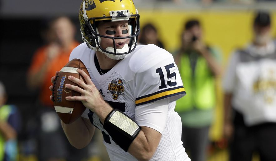 FILE - In this Jan. 1, 2016, file photo, Michigan quarterback Jake Rudock looks for a receiver during the first half of the Citrus Bowl NCAA college football game against Florida in Orlando, Fla. The former Michigan quarterback seems to have landed in a good spot, getting drafted by the Detroit Lions to develop into a backup role behind Matthew Stafford. (AP Photo/John Raoux, File)