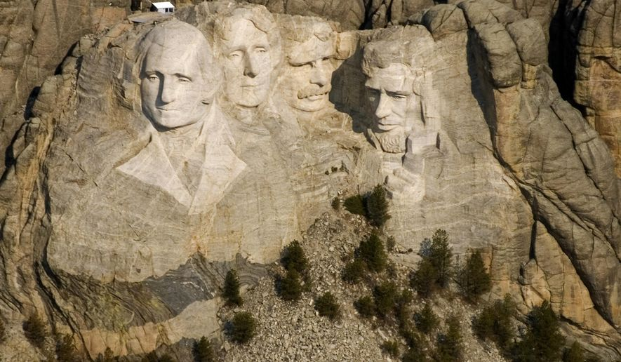 FILE - This April 22, 2008 file photo shows the Mount Rushmore National Memorial near Keystone, S.D. State tourism officials are banking on the 75th anniversary of the completion of Mount Rushmore and the 100th birthday of the National Park Service, along with stable gas prices, to drive vacationers to the state during the 2016 tourism season. (AP Photo/Mike Stewart, File)