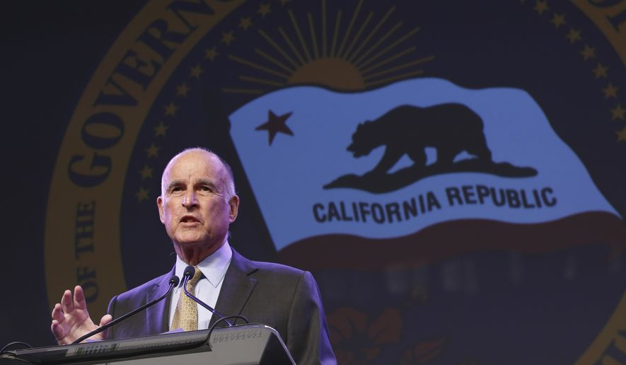 California Gov. Jerry Brown gestures during a community event in Sacramento on May 18, 2016. (Associated Press)