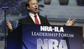 Sen. Rand Paul, R-Ky., speaks at the National Rifle Association convention, Friday, May 20, 2016, in Louisville, Ky. (AP Photo/Mark Humphrey)