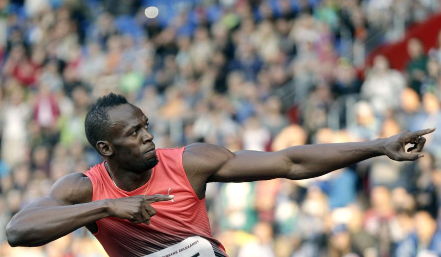 Jamaica's sprinter Usain Bolt gestures after crossing the finish line of the men's 100 meters event, at the Golden Spike athletic meeting in Ostrava, Czech Republic, Friday, May 20, 2016. (AP Photo/Petr David Josek)