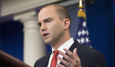 In this Feb. 16, 2016, file photo, then-Deputy National Security Adviser For Strategic Communications Ben Rhodes speaks in the Brady Press Briefing Room of the White House in Washington. (AP Photo/Pablo Martinez Monsivais, File) **FILE**