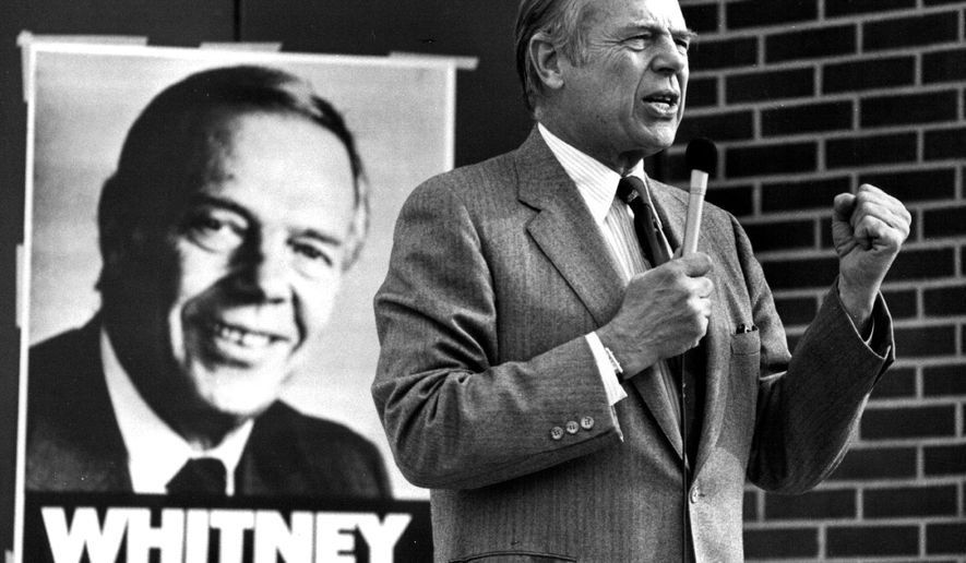This 1982 photo shows Wheelock Whitney, Jr., speaking to a crowd in New Ulm, Minn. The Minnesota businessman and former Vikings co-owner has died. He was 89. His son, Ben Whitney, says Wheelock Whitney died Friday, May 20, 2016, at his home in Independence, Minn., of natural causes. (Neil McGahee/Star Tribune via AP)  MANDATORY CREDIT