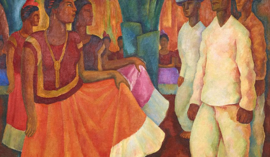 "This undated photo provided by the Phillips Auction House shows Diego Rivera's ""Baile en Tehuantepec."" Phillips Auction House says that the painting that has sold privately for $15,7 million dollars sets a world record price for any work of Latin American art. The figure nearly duplicates the previous record of Latin American art set for Frida Kahlo's ""Dos desnudos en el bosque,"" which sold for more than $8 million dollars at a Sotheby's public auction on May 12, 2016.. (2016 Banco de Mexico Diego Rivera Frida Kahlo Museums Trust, Mexico, D.F. / Artists Rights Society (ARS), New York. Phillips Auction House via AP)"