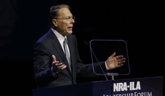 National Rifle Association executive vice president Wayne LaPierre  speaks at the National Rifle Association convention Saturday, May 21, 2016, in Louisville, Ky. (AP Photo/Mark Humphrey)