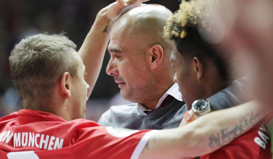 Bayern head coach Pep Guardiola reacts after the German soccer cup final match between Borussia Dortmund and FC Bayern Munich in Berlin, Germany, Saturday, May 21, 2016. (AP Photo/Markus Schreiber)