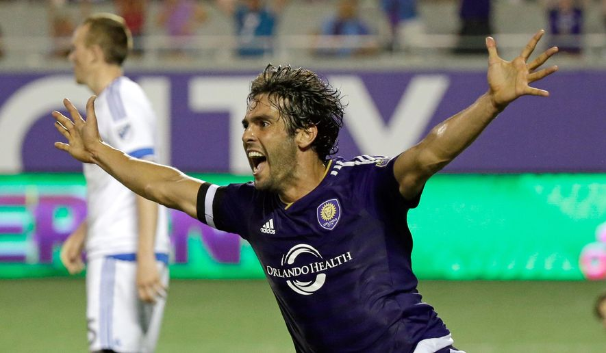 Orlando City's Kaka celebrates after teammate Cyle Larin scored against the Montreal Impact during the second half of an MLS soccer game, Saturday, May 21, 2016, in Orlando, Fla. Orlando won 2-1. (AP Photo/John Raoux)