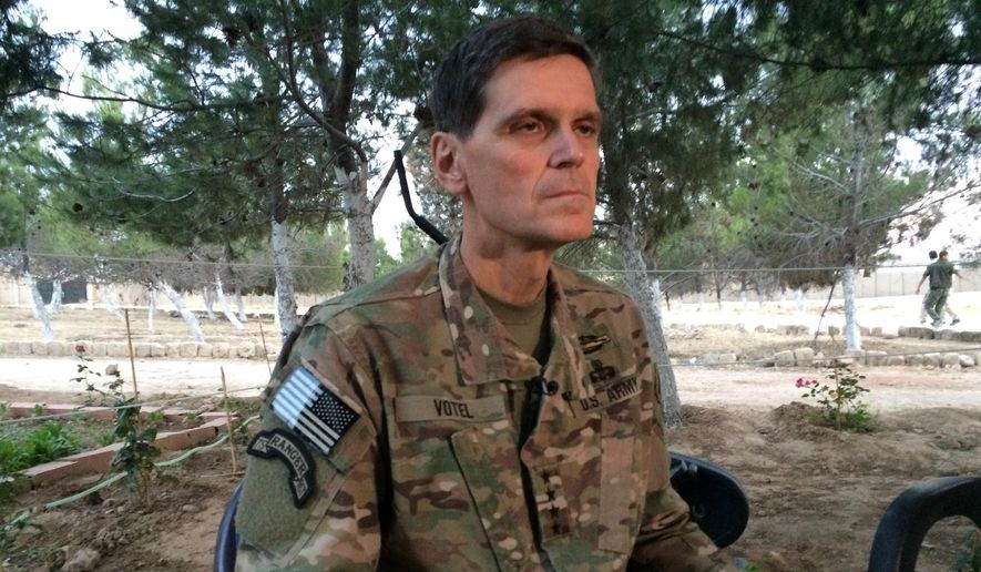 Army Gen. Joseph Votel speaks to reporters Saturday, May 21, 2016, during a secret trip to Syria. Votel said he is encouraged by progress in building local Syrian Arab and Kurdish forces to fight the Islamic State. (AP Photo/Robert Burns)