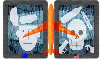 Illustration contrasting the European and American approaches to air travel security by Alexander Hunter/The Washington Times