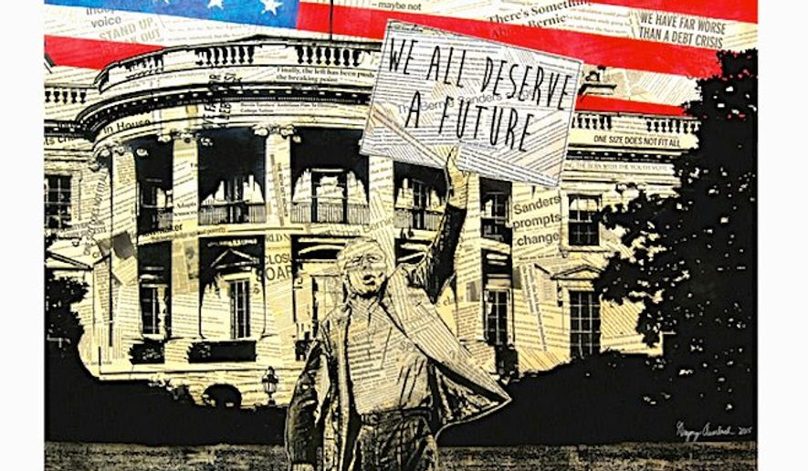 "Bernie Sanders has unveiled ""Art of the Political Revolution,"" a collection of 10 original works also sold as prints through his campaign. Shown is ""We All Deserve a Future"" by Los Angeles artist Greg Auerbach. (Bernie 2016)"