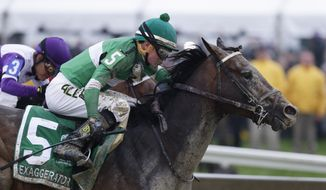 Exaggerator (5) with Kent Desormeaux aboard moves past Nyquist with Mario Gutierrez during the 141st Preakness Stakes horse race at Pimlico Race Course, Saturday, May 21, 2016, in Baltimore. Exaggerator won the race. (AP Photo/Garry Jones)